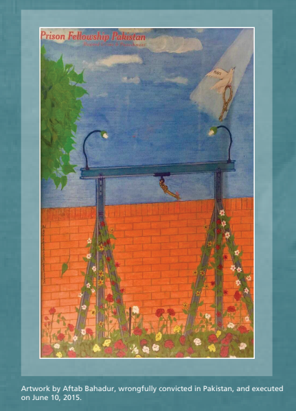 A drawing of a gallows in front of a brick wall. Colorful flowers climb up the legs of the gallows and the rope tied to the main beam has been cut. A dove flies upward, holding the noose with its feet.