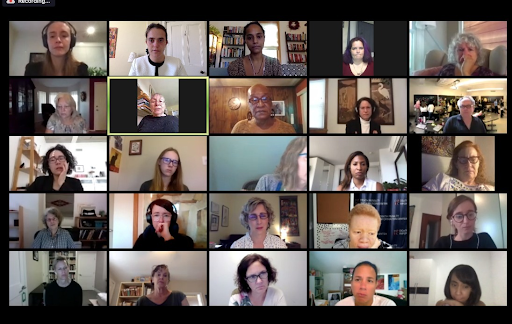 Twenty-four people on a video conference listen to one person speak. The people listening look sad and some are tearing up.